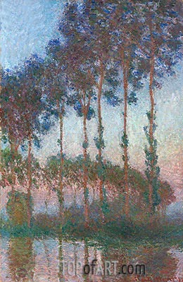 Poplars on the Banks of the River Epte at Dusk, 1891 | Monet| Painting Reproduction