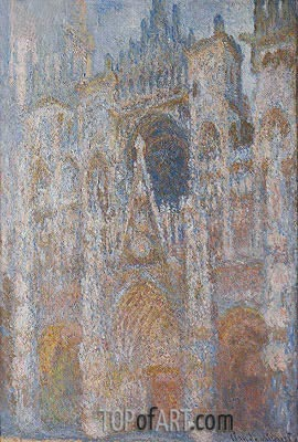 Rouen Cathedral, Blue Harmony, Morning Sunlight, 1894   Monet   Painting Reproduction