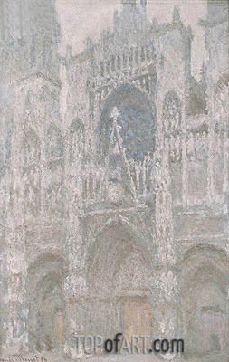 Rouen Cathedral, the West Portal, Dull Weather, 1894 | Monet | Painting Reproduction