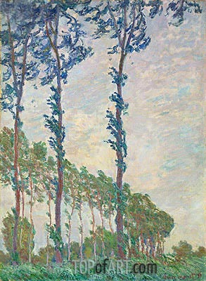 Wind Effect, Sequence of Poplars, 1891 | Monet | Painting Reproduction