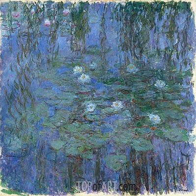 Blue Nympheas (Water-Lilies), c.1916/19 | Monet| Painting Reproduction