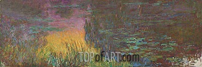 Nympheas (The Setting Sun), c.1920/26 | Monet| Painting Reproduction