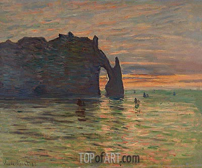 Sunset in Etretat, 1883 | Monet | Painting Reproduction