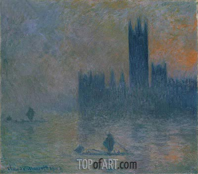 The Houses of Parliament (Effect of Fog), 1903 | Monet | Painting Reproduction