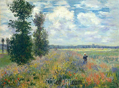 Poppy Fields near Argenteuil, 1875 | Monet| Painting Reproduction