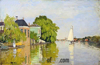 Houses on the Achterzaan, 1871 | Monet| Painting Reproduction