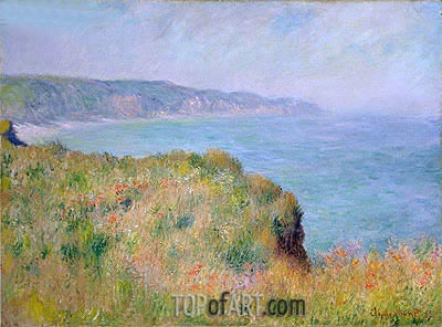 On the Cliff at Pourville, 1882 | Monet | Painting Reproduction