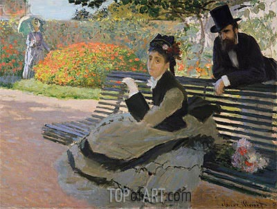 Camille Monet on a Garden Bench, 1873 | Monet| Painting Reproduction