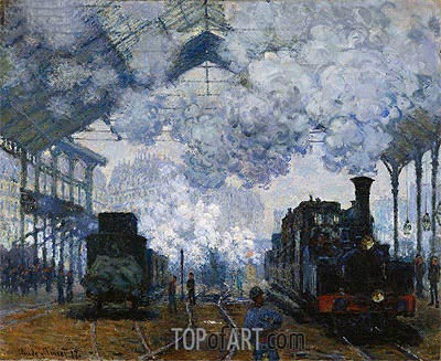 The Gare Saint-Lazare: Arrival of a Train, 1877 | Monet | Painting Reproduction