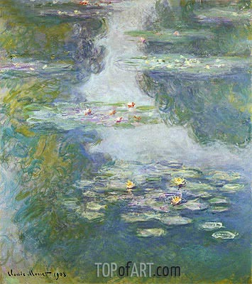 Water Lilies, Nympheas, 1908 | Monet| Painting Reproduction