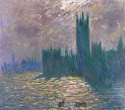 London. Parliament. Reflections on the Thames, 1905 | Monet | Painting Reproduction
