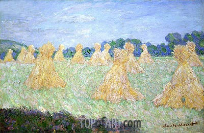 Haystacks, The Young Ladies of Giverny, Sun Effect, undated | Monet | Painting Reproduction
