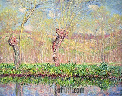 Spring, River Bank at Epte, 1885 | Monet| Painting Reproduction