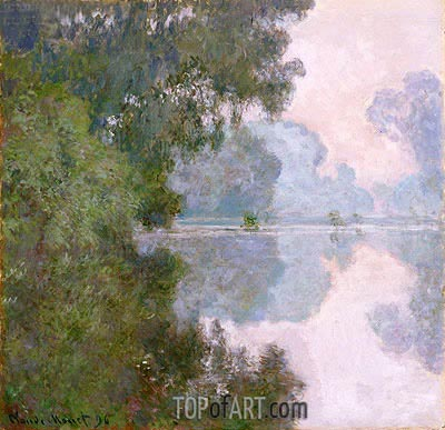 Morning on the Seine, near Giverny, 1896 | Monet | Painting Reproduction