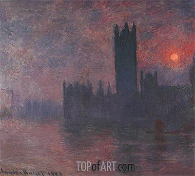 London, Houses of Parliament, Sunset, 1903 | Monet| Painting Reproduction