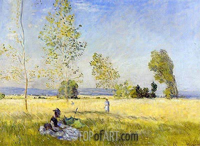 Meadow at Bezons, 1874 | Monet| Painting Reproduction