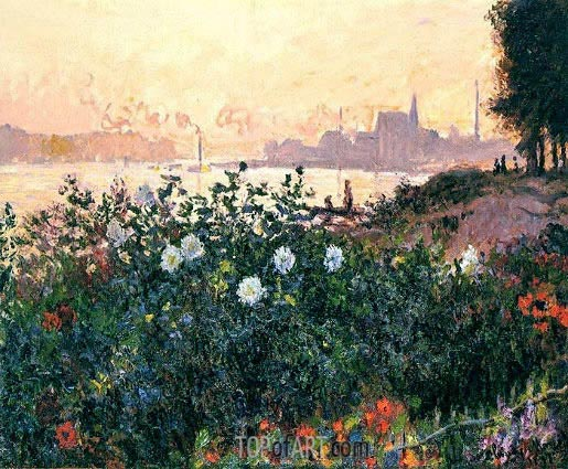Argenteuil, the Bank in Flower, 1877 | Monet | Painting Reproduction