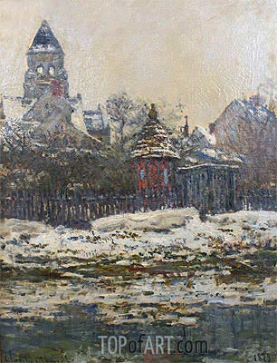 The Church at Vetheuil, Winter, 1879 | Monet | Gemälde Reproduktion