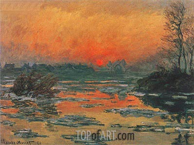 Sunset on the Seine at Lavacourt, 1880 | Monet | Painting Reproduction