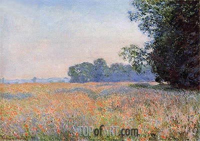 Field of Oats with Poppies, 1890 | Monet | Painting Reproduction