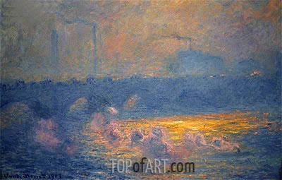 Waterloo Bridge, Sun Effect with Smoke, 1903 | Monet| Painting Reproduction
