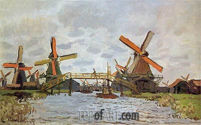 Mills in the Westziderveld near Zaandam, 1871 | Monet | Painting Reproduction