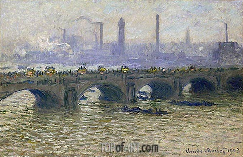 Waterloo Bridge - Overcast Skies, 1903 | Monet| Painting Reproduction