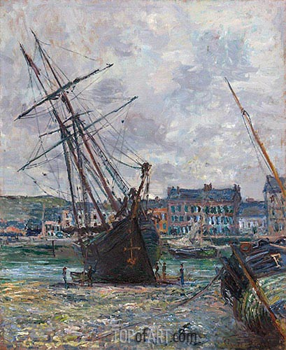 Monet | Boats Lying at Low Tide at Fecamp, 1881