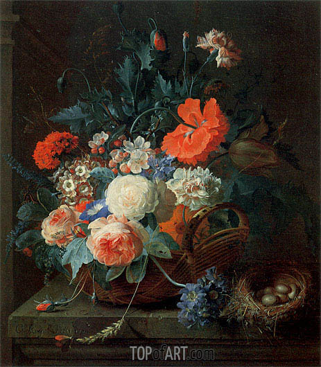 An Arrangement of Flowers in a Vase, 1724 | Coenraet Roepel | Painting Reproduction