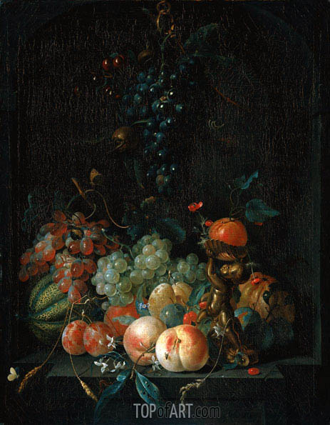 Still Life with Fruit, 1721 | Coenraet Roepel | Gemälde Reproduktion