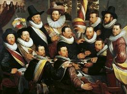 Festmahl der Offiziere und Subalterne der Calivermens Bürgerwehr, 1599 von Cornelis Cornelisz. van Haarlem | Gemälde-Reproduktion