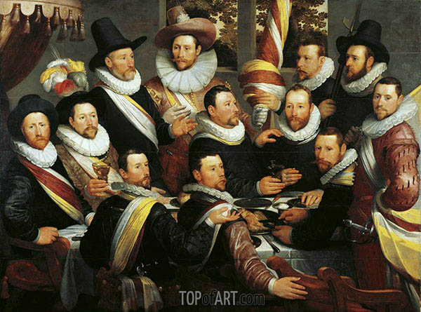 Cornelis Cornelisz. van Haarlem | Banquet of the Officers and Subalterns of the Calivermens Civic Guard, 1599