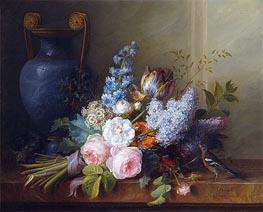 Blumenstillleben mit Vogelnest und Buchfink, 1810 von Cornelis van Spaendonck | Gemälde-Reproduktion