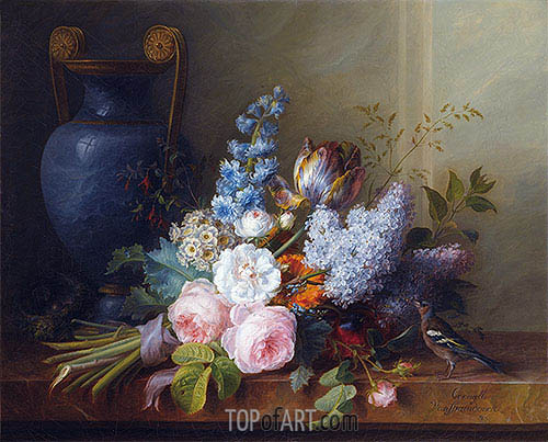 Cornelis van Spaendonck | Flower Bunch with a Bird Nest, 1810