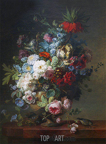 Vase of Flowers on a Stone Table with a Nest and a Greenfinch, 1789 | Cornelis van Spaendonck| Painting Reproduction