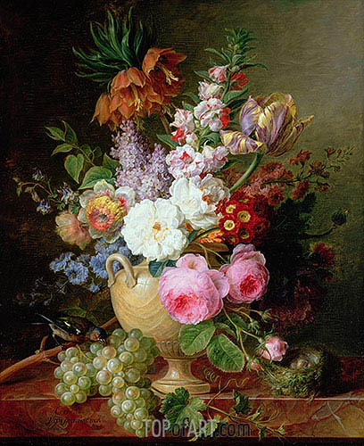 Still Life with Flowers and Grapes, 1824 | Cornelis van Spaendonck| Painting Reproduction
