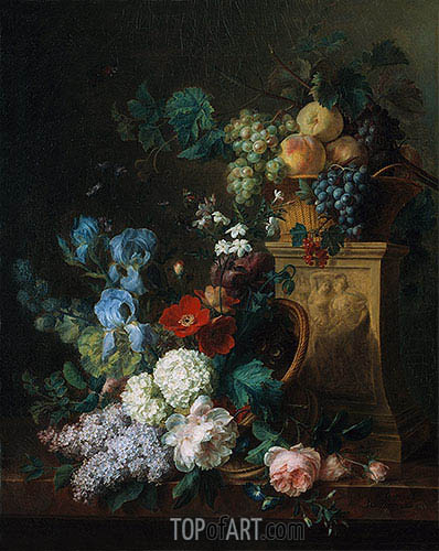 Still Life with Flowers and Fruits, 1804 | Cornelis van Spaendonck | Painting Reproduction