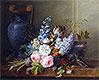 Blumenstillleben mit Vogelnest und Buchfink | Cornelis van Spaendonck