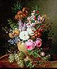 Ein Stillleben mit Blumen in Vase auf Marmorleiste | Cornelis van Spaendonck
