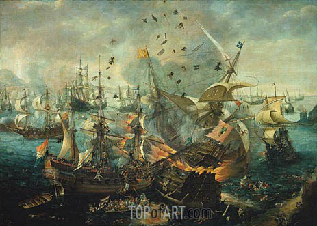 The Explosion of the Spanish Flagship during the Battle of Gibraltar, 25 april 1607, c.1621 | van Wieringen | Gemälde Reproduktion