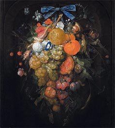 Festoon with Fruits and Flowers , Undated von Cornelis de Heem | Gemälde-Reproduktion