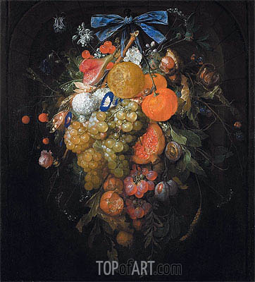 Festoon with Fruits and Flowers ,  | Cornelis de Heem | Painting Reproduction