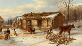Habitant Homestead in Winter, c.1860 by Cornelius Krieghoff | Painting Reproduction