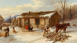 Habitant Homestead in Winter, c.1860 von Cornelius Krieghoff | Gemälde-Reproduktion