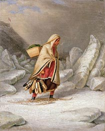 An Indian Woman Wearing Snowshoes, Undated by Cornelius Krieghoff | Painting Reproduction