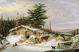 Settler's Log House, 1856 by Cornelius Krieghoff | Painting Reproduction