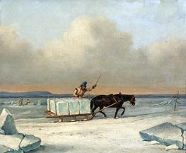 The Ice Cutters on the St. Lawrence at Longueuil, 1850 by Cornelius Krieghoff | Painting Reproduction