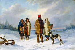 Indians in a Snowy Landscape | Cornelius Krieghoff | Painting Reproduction