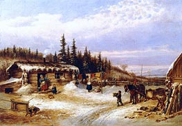 Log Hut on the St. Maurice | Cornelius Krieghoff | Painting Reproduction