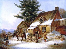 Bargaining for a Load of Wood | Cornelius Krieghoff | Painting Reproduction